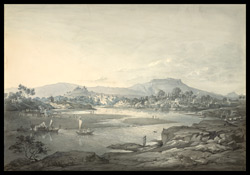 View of Poona [Pune], with river in the foreground. October 1804